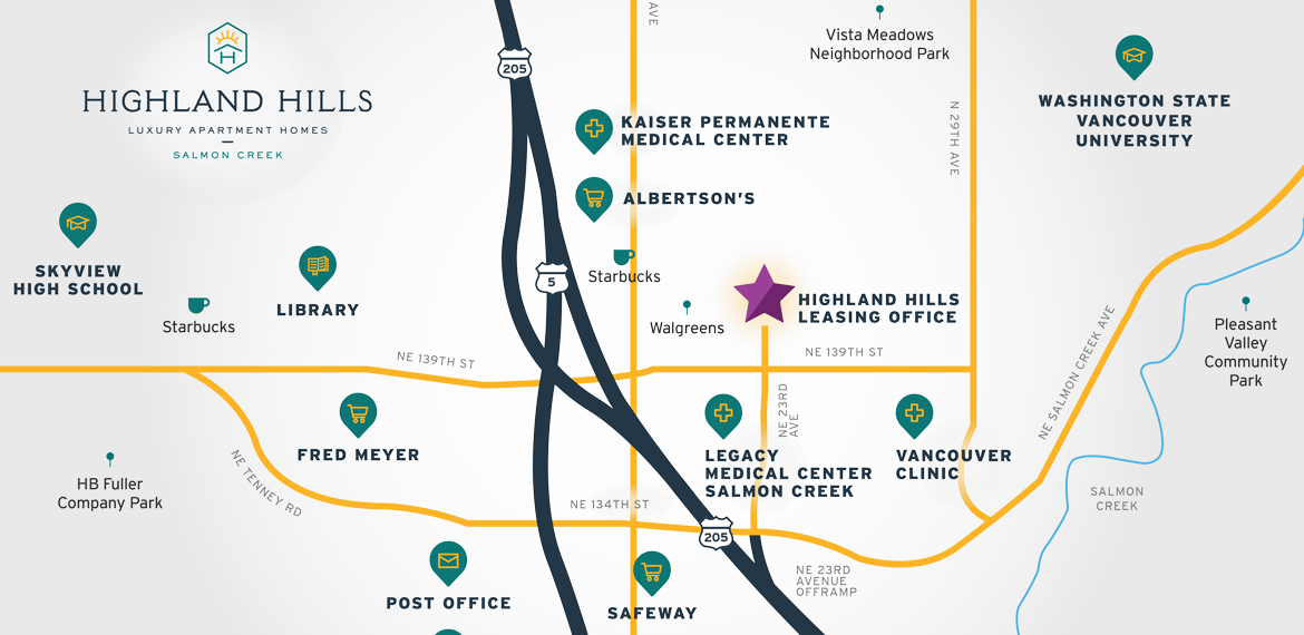 Highland Hills Apartments map